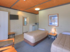 Stay in comfortably furnished twin room