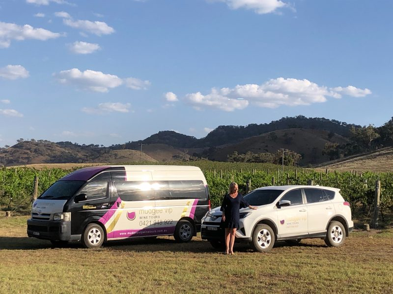 My vehicles overlooking The vines of Mudgee