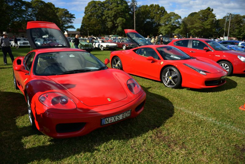 A line up of red cars