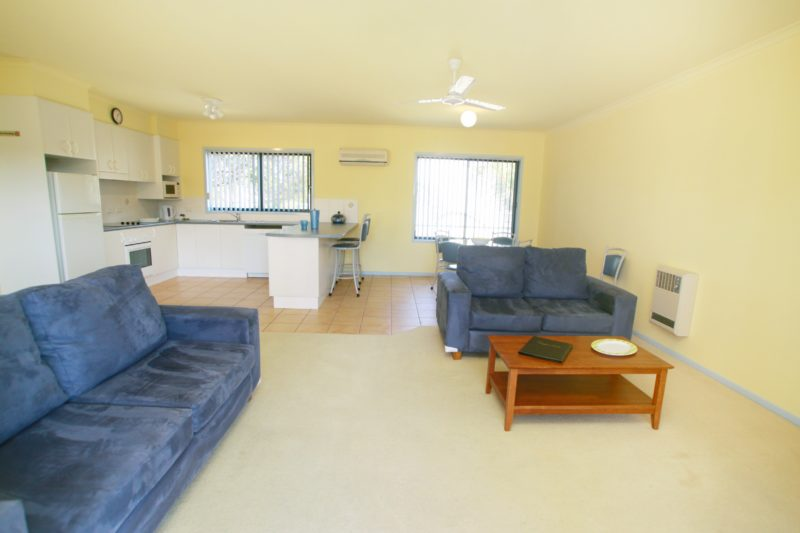 Living area, large 2BR units