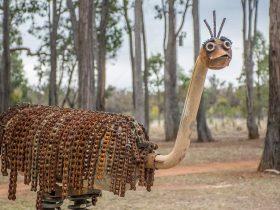 Hand made metal sculpture of emu