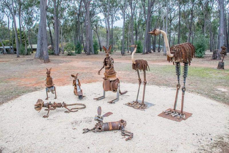 Seven metal sculptures of native australian animals