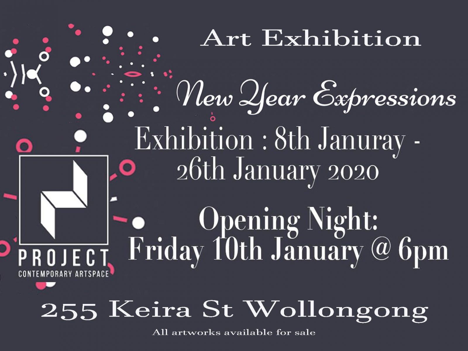 New Year Expressions Art Exhibition Poster, 8th to 26th January at 255 Keira Street Wollongong