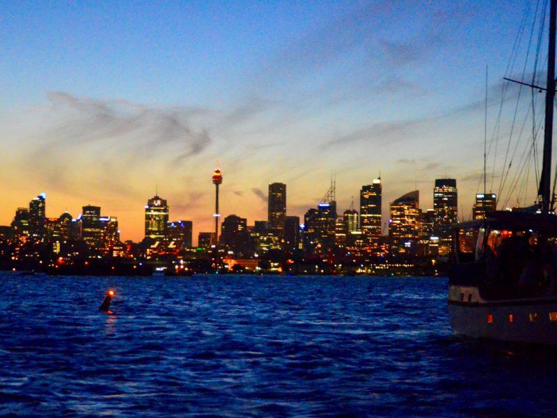 Sydney Harbour at sunset on NYE