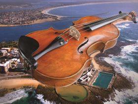 Newcastle Music Festival violin over city