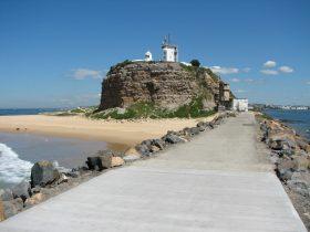 Nobbys Lighthouse and breakwall