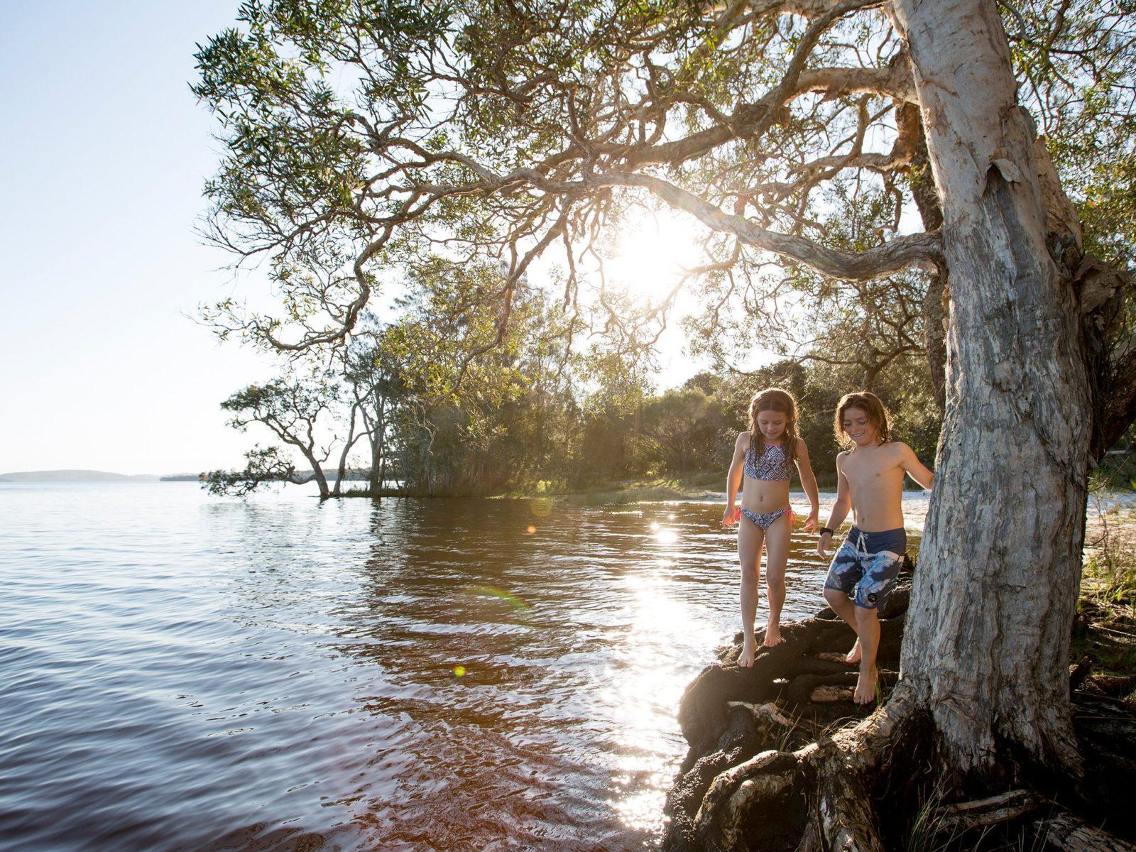 Children exploring the Lake