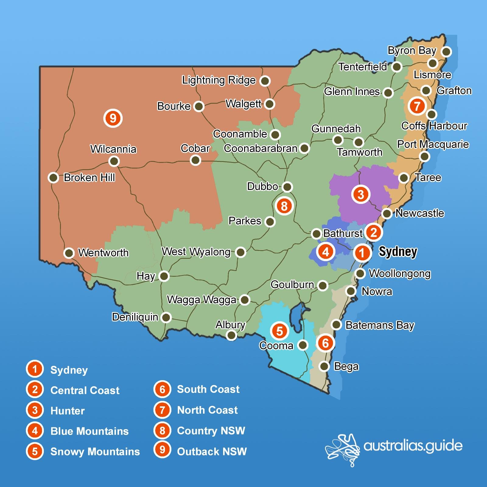 Map Of Nsw Coast Map of New South Wales | New South Wales   Australia's Guide