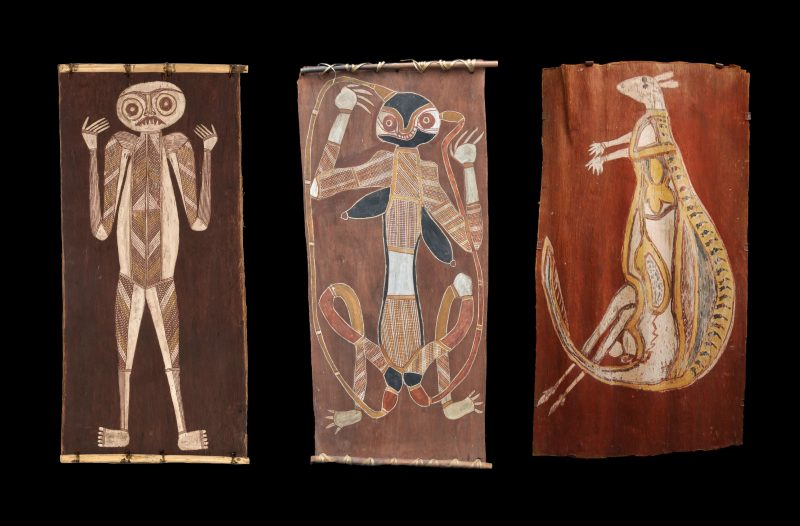 Three Australian Aboriginal traditional Bark Paintings from Western Arnhem Land, Northern Territory