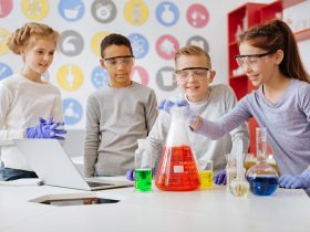 Children performing science experiments