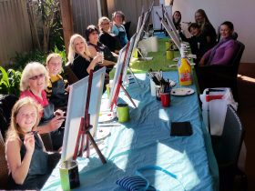 Painting and drinking with friends, an artist will walk you through, Paint, Sip, Party