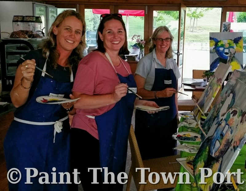 family ready to paint, paint sip celebrate