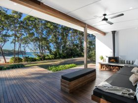 The Beach House daybed and outdoor fire