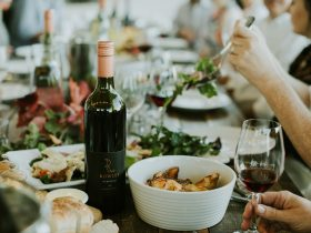 A table filled with locally sourced seasonal produce and wine