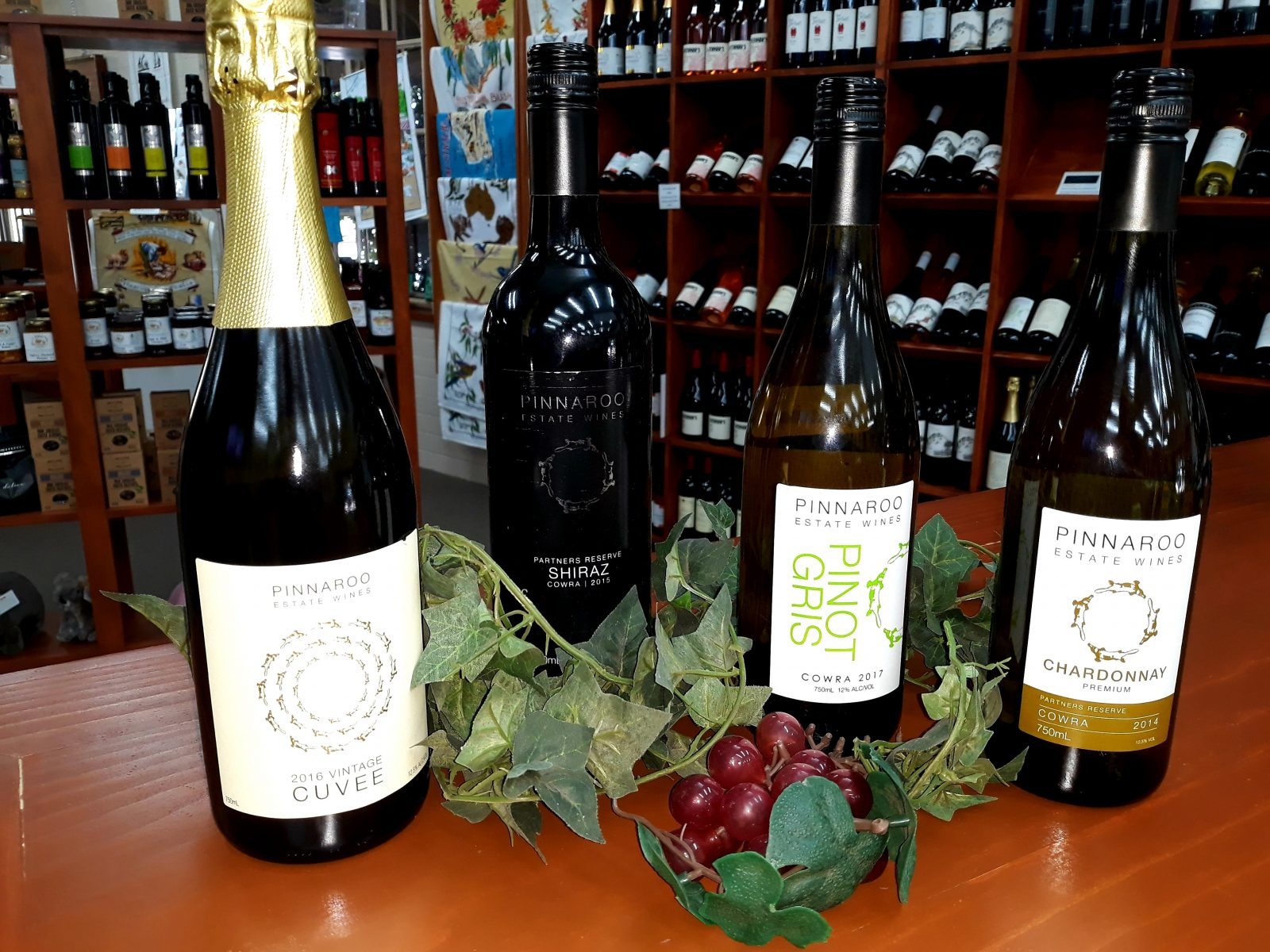 Selection of Pinnaroo wines available for sale at the Cowra Info Centre