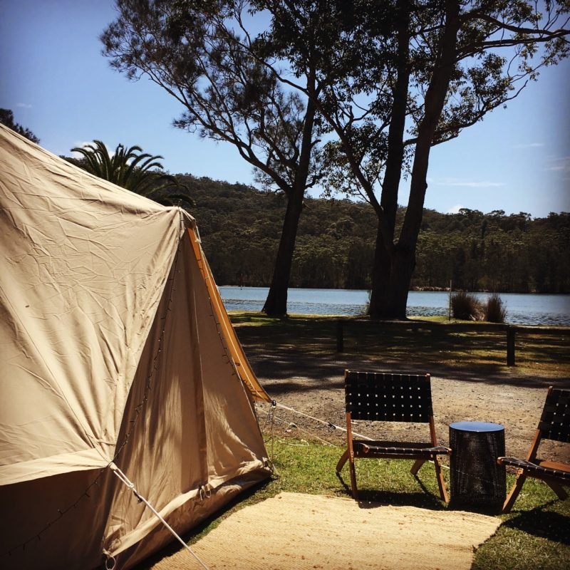 Luxury Bell tent, river, gum trees, out door seating