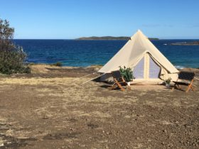 Bell tent on the headland