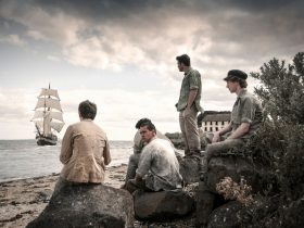 Convict boys and tall ship