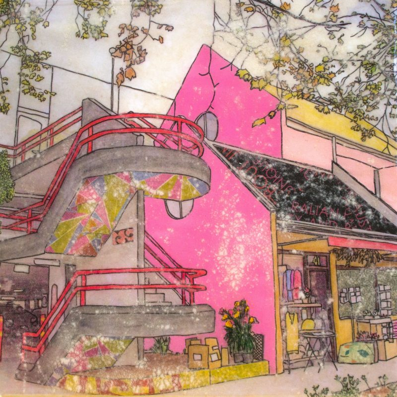 original artwork by Chloe Wadell depicting a vibrant small building