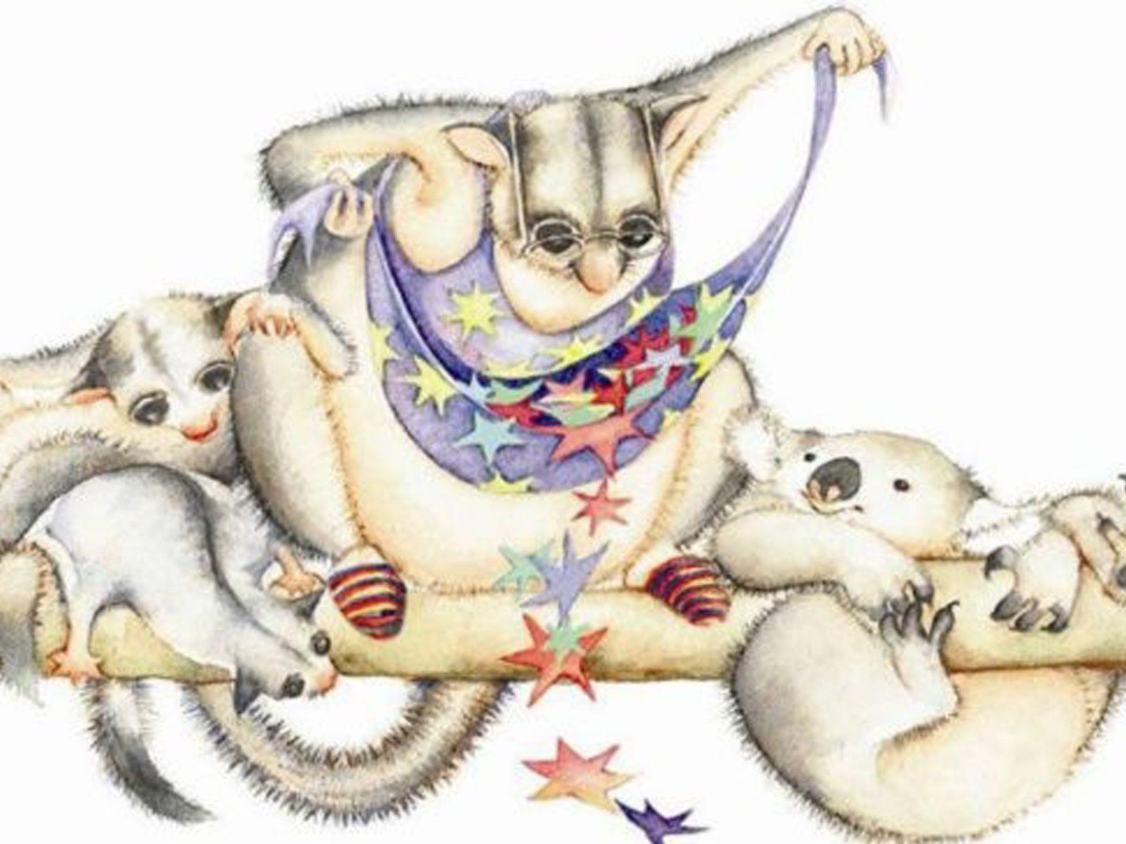Drawings by Jules Vivas of possums