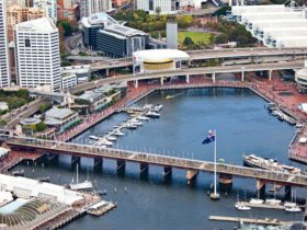Aerial of Darling Harbour in the afternoon