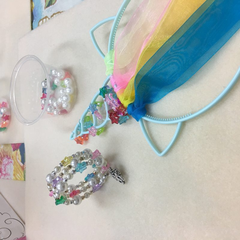 Making our bracelet and headband is easy for kids holiday activity