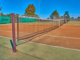 Close up of tennis court at Raworth Tennis Centre
