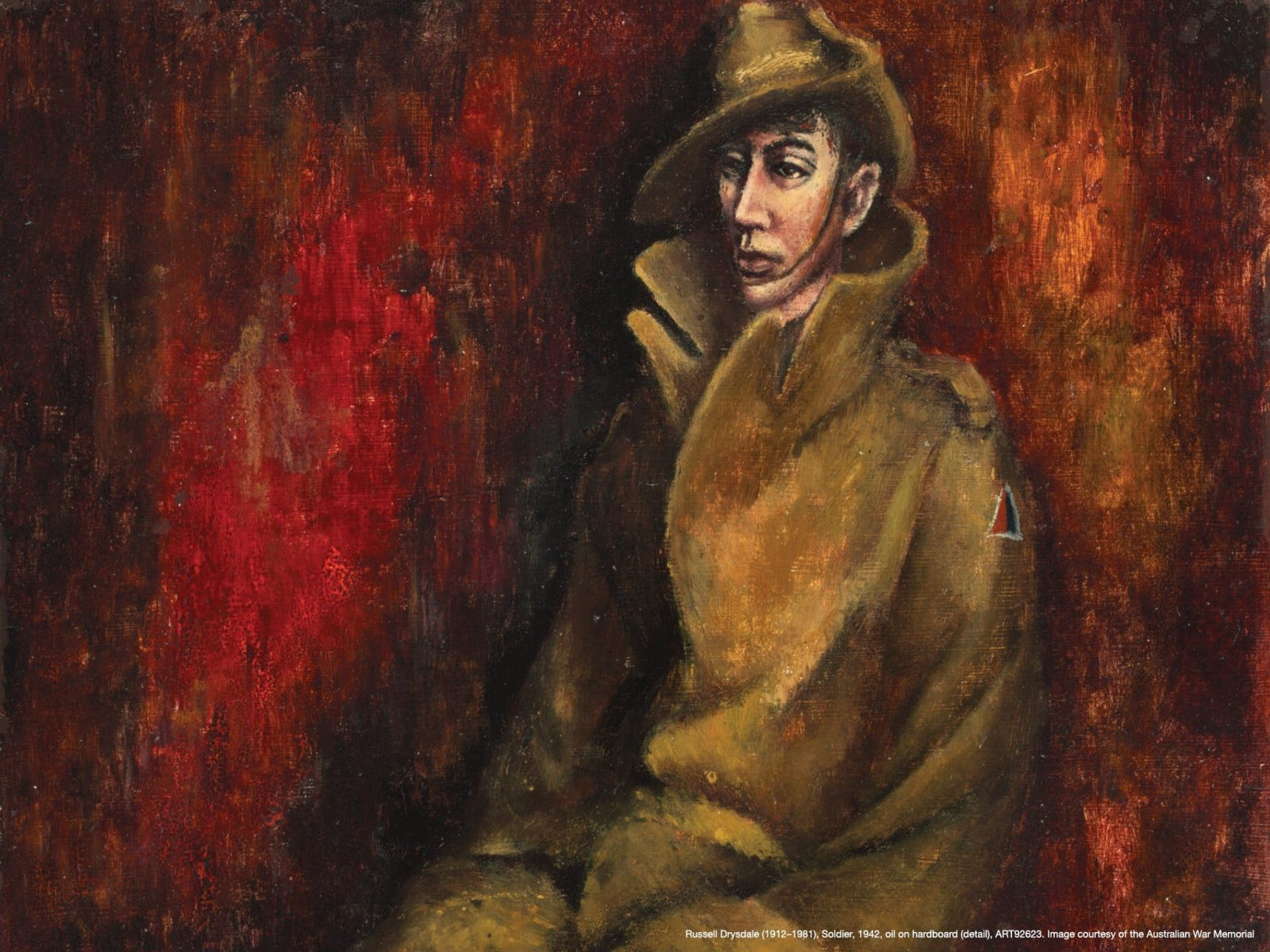 Russell Drysdale (1912–1981), Soldier, 1942, oil on hardboard, ART92623.