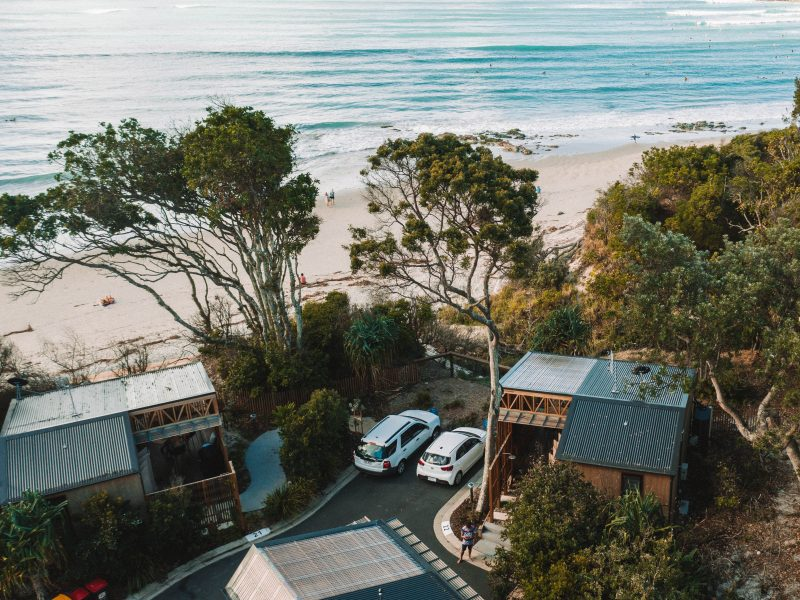 Aerial view of cabins at Reflections Clarkes Beach