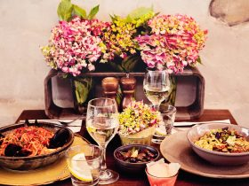 Table setting with pasta and wine