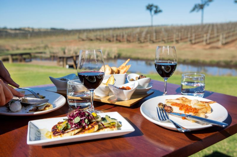 Food and wine at RidgeView Restaurant