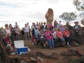Group of happy travellers on the Broken Hill tour
