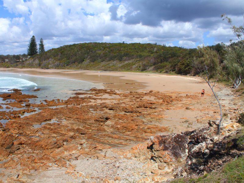 Beach curve: where Rocky Point and Minnie Water's main beach meet.