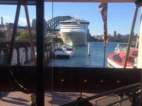 View of Harbour Bridge and International Passenger Terminal from upstairs dining area.