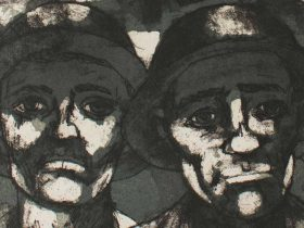 Artwork of two men's faces