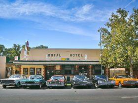 Royal Hotel and wedding cars out front