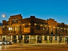 Royal Hotel Queanbeyan exterior at night