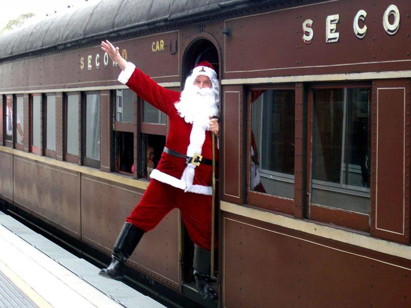 Santa arriving at Thirlmere on a vintage train