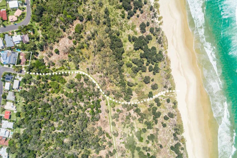 Sea Salt - Byron Bay - Aerial Straight Down on Path to Beach