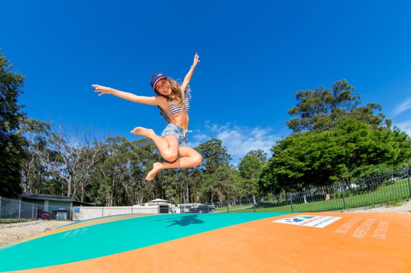 Girl on Jumping Pillow