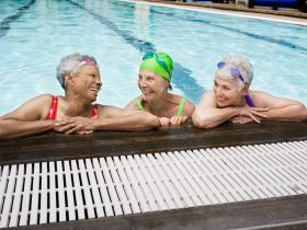 Three ladies in swimming pool