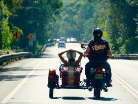 Taking a ride in a vintage-style sidecar