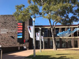 The forecourt of the Shoalhaven Regional Art Gallery