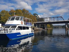 The Shoalhaven Explorer docked at the Nowra Public Wharf on the Shoalhaven River