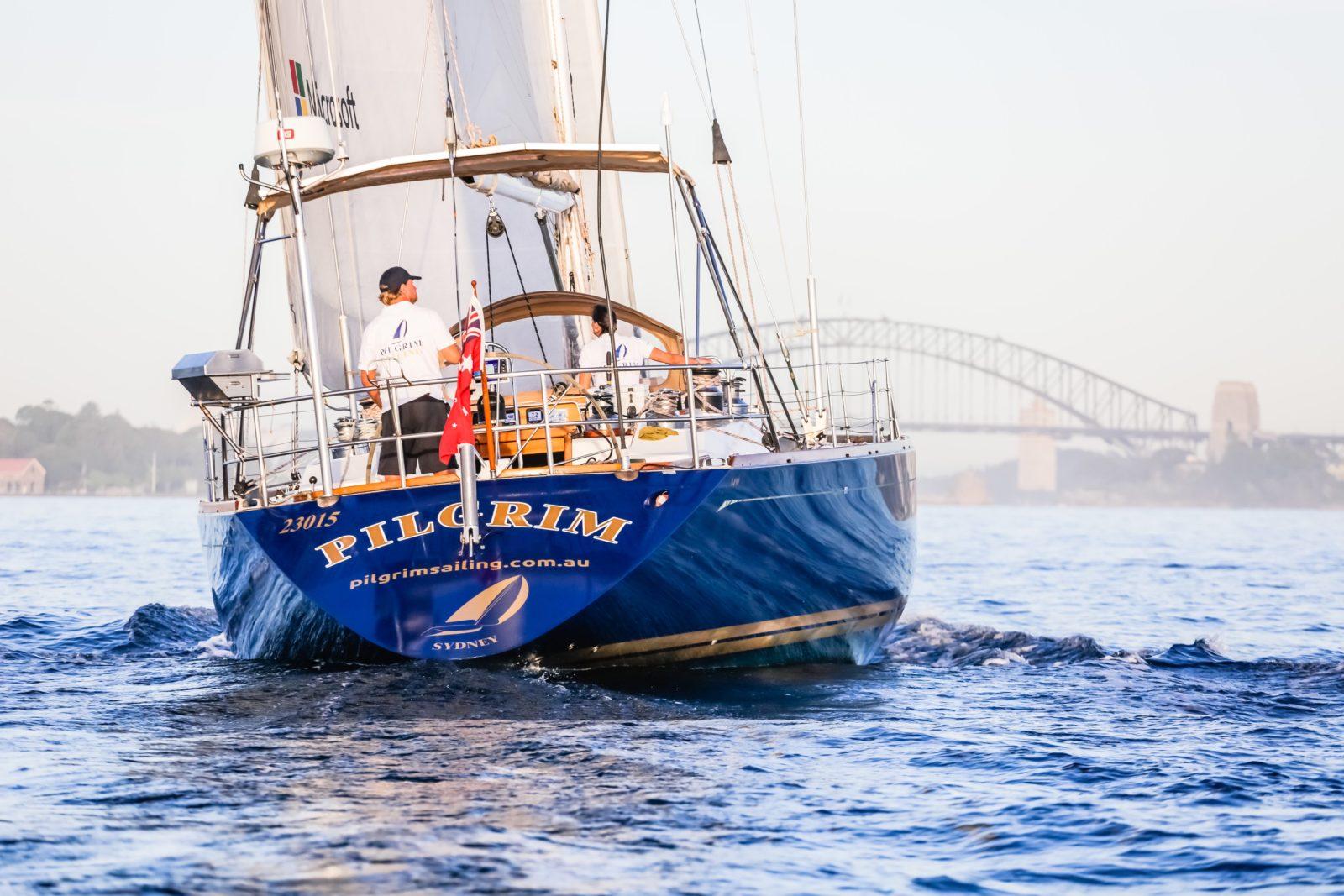 Pilgrim sailing towards the Harbour Bridge