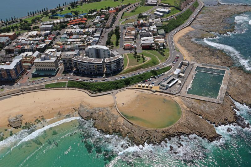 Flying over Newcastle Beach and Ocean Baths
