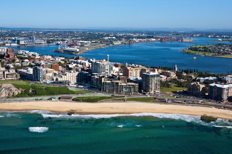 Aerial shot of Newcastle Beach and Harbour