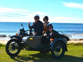 South Coast Sidecar Tours out on tour enjoying the fresh sea air and magical views