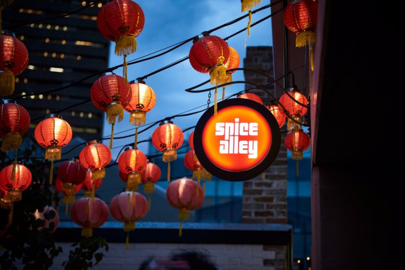 Chinese lanterns adorning Spice Alley, Chippendale