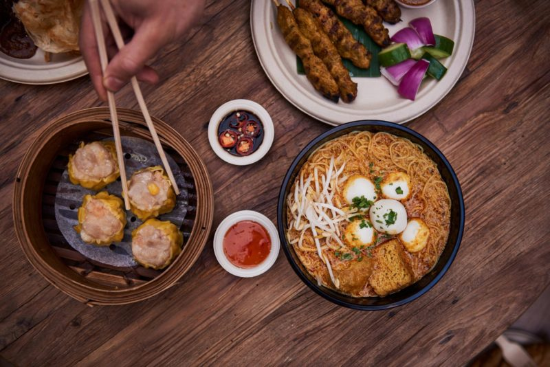 A variety of Asian hawker-style street food from Spice Alley, Chippendale